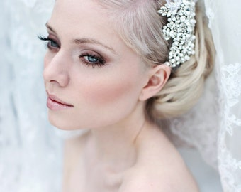My One and Only feather headband  - Romantic hair piece with rhinestones, tulle and feathers