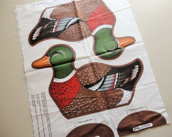mallard duck cut-out print vintage cotton fabric craft panel