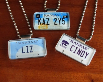 Personalized Kansas License Plate Pendant Necklace by PL8LINKS
