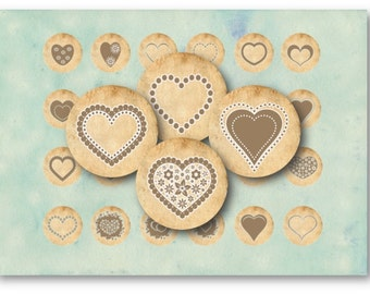 Digital Collage Sheet Download - Vintage Hearts 1 inch Circles -  620   for Jewelry Pendants - Instant Download Printables