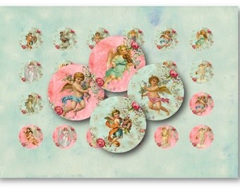 Digital Collage Sheet Download - Cherubs & Angels 1 inch Circles -  630   for Jewelry Pendants - Instant Download Printables