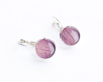 Real Petals Earrings - purple handmade resin jewelry - Clematis 'Ville de Lyon'