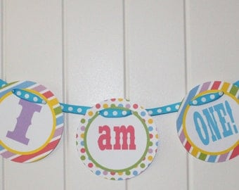 "SWEET SHOPPE Party Happy Birthday ""I am 1"" Highchair 1st Birthday Banner"