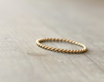 "Gold Wedding Band Anniversary Ring 14 k Gold Stacking Ring Delicate Thin Petite Ring --""Twined"""