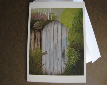 Garden Gate Painting FIne Art Any Occasion blank Greeting Card 5x7 with envelope
