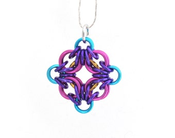 Chain Maille Pendant, Bright Color Aluminum Jewelry, Multicolor Pendant, Jump Ring Jewelry