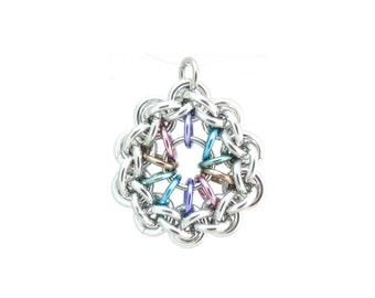 Pastel Jewelry, Chain Maille Pendant, Multicolor Pendant, Jump Ring Jewelry
