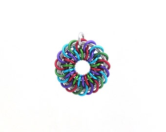 Jump Ring Jewelry, Chain Maille Pendant, Multicolor Jewelry, Spiral Pendant, Colorful Jewelry