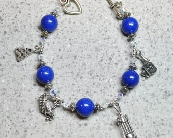 Wine Lover's Charm Bracelet with Blue Agate Beads
