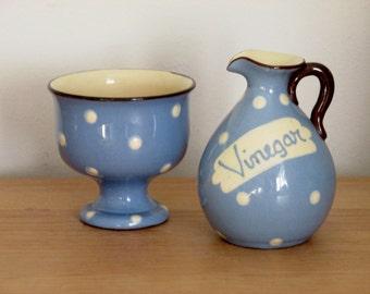 1950s Blue Polka Dot Vinegar Jug and Salt Bowl Motto Ware Devon Ware Torquay Ware England