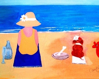 "Painting ""Mrs. C and Coco at the Beach""   ~ 9x12"" Artist Canvas"