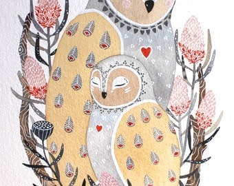 Owl Illustration - Watercolor Painting - Lua and Dali, Archival Print