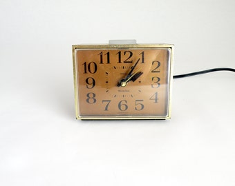 Small Electronic Westclox Vintage Square Brown Alarm Clock