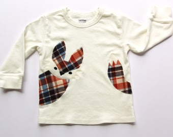 Toddler Fox Shirt, Plaid Fox Toddler Shirt, Long Sleeve Fox Shirt