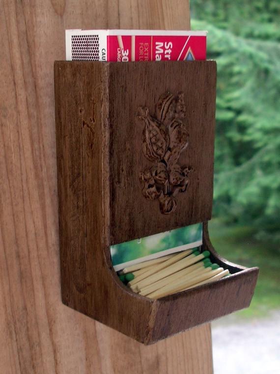 Vintage Wooden Match Holder Country By Theoddoldtriedntrue