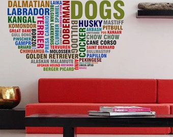 Dog Breeds Animals - Full Color Wall Decal Vinyl Decor Art Sticker Removable Mural Modern B136