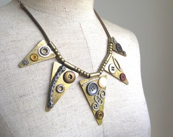 Vintage Inspired Triangle Funk Necklace