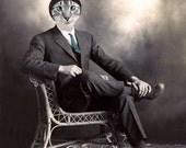 Columbo, Cat Print, Anthropomorphic, Whimsical Art, Collage Art, Vintage Cat, Animal Print, Photo Collage, Altered Photo, Funny Animals