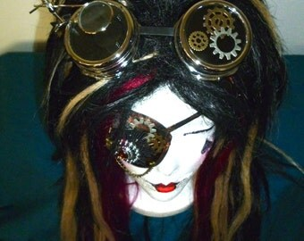 Silver STEAMPUNK GOGGLES- Welding, Cyber, Post Apocalypse, Mad Max, Road Warrior, Burning Man, Dragon Con, Neo-Victorian, Wild West, Gears