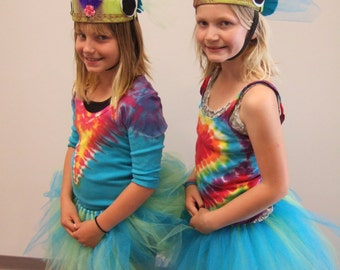 Upcycled Steampunk Clothing, Rainbow Fish Costume - Tutu, T-Shirt and Headpiece, The Little Mermaid