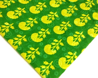 Soft Cotton Fabric - Block Printed Cotton Fabric - Green and Lemon Fabric - Floral  Print Fabric by the Yard