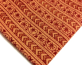 Kalamkari Fabric in Rust, Beige and Black - Indian Cotton Fabric - Vegetable Dyed Kalamkari Pattern Fabric by Yard