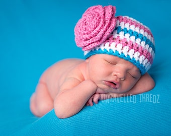 Crochet Newborn Hat with Flower, Newborn Photo Prop Hat