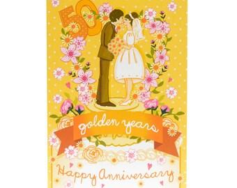 Golden Wedding Anniversary Card - Golden Wedding Card - Anniversary Card - 50th Anniversary Card - Golden Anniversary Card