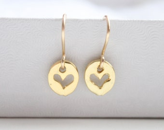 Gold Heart Earrings - Dainty Heart, 14k Gold Filled and Vermeil, Valentine Jewelry, Open Heart Love, Simple Everyday, Small Petite, Under 30