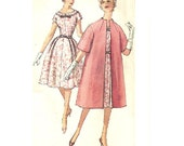 Simplicity 3348 Sewing Pattern 1960s Mad Men Style Circle Skirt Dress Short Sleeves Evening Opera Coat Collarless Flared Jacket Bust 36