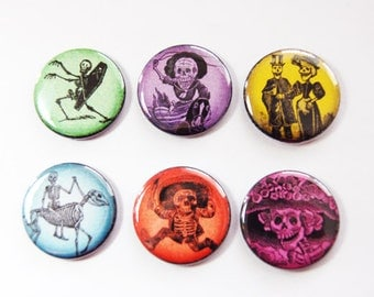 Skeleton magnets, Dia de los Muertos, Day of the dead, Button magnets, Kitchen Magnets, skull, Locker Magnets, stocking stuffer (3284)