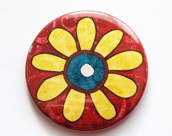 Flower pocket mirror, pocket mirror, Flower, Floral, mirror, purse mirror, gift for her, Yellow Flower, Red (3494)