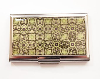 Business card holder, Business Card Case, Card case, Abstract Design, Venetian Design, Green, Black (3690)