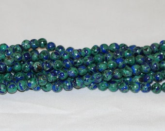 "Azurite Malachite 6mm Round Gemstone Bead B - 15.5"" Strand"