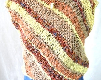 Multi Colored Caramel Brown and Cream Vintage Crochet Sleeveless Sweater Top