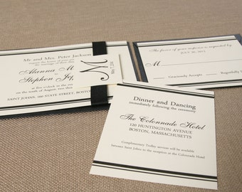 Alanna Wedding Invitation Suite- Black and Ivory, Renaissance, Classic- Ribbon