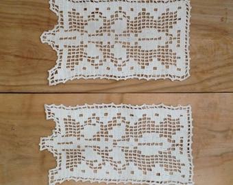 SALE Vintage Crochet Doilies - Pair - Farmhouse White Rustic