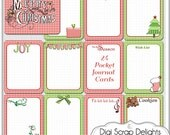 this Week. Christmas Gingham 24 Pocket Journal Cards, Printable, Red, Green Project Life Cards, Digital Scrapbooking