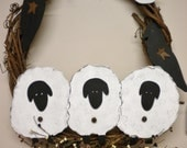 Grapevine Wreath Sheep and Crows, Primitive Country Wall or Door Decor, Folk Art Home Decor