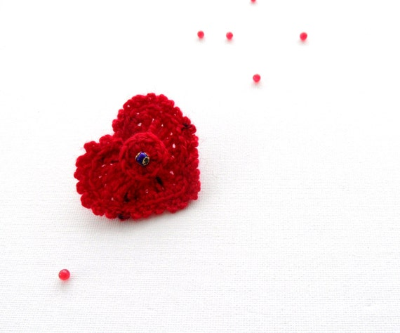 Crochet Brooch - Crochet Heart  - Red Brooch - Red Cashmere Heart - Romantic Valentine Heart