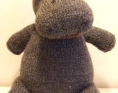 George, the cute little hippo - knitted stuffed toy, cuddly hippo, adorable :)