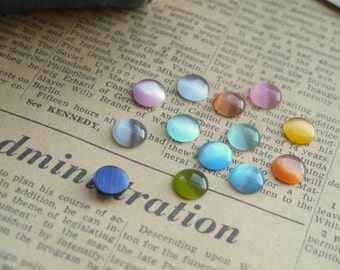 12 pcs 10mm Round Glass Cabochons Assorted Mixed Colors (MXC808)