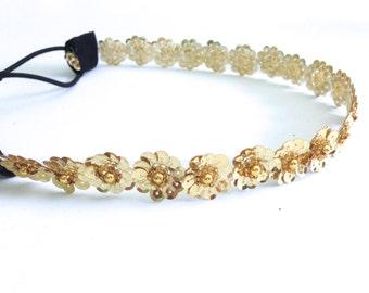Gold Sequin Flower Headband