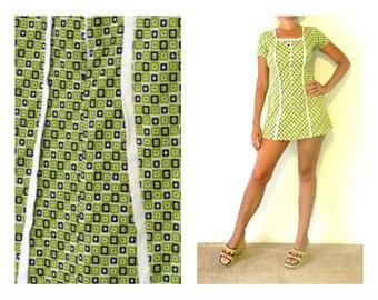 90's GRUNGE MINI DRESS - A-Line / Abstract Geometric Print / Daisy / Clueless / Size Medium to Large