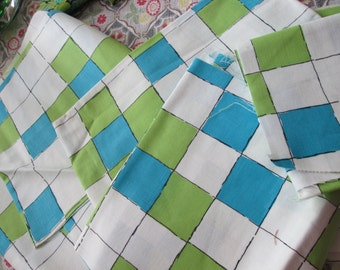 M Lowenstein and son's Inc.  pretty blue green sqaure fabric vintage fabric pieces.