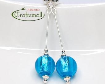 Clearance: Blue earrings with sterling silver - Venetian Glass earrings