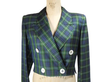 vintage 1980s VALENTINO cropped plaid jacket / blue green yellow / polished cotton / double breasted / women's vintage jacket / size large
