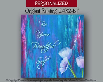 Abstract painting, Personalized artwork, Canvas quote, Girls wall decor, Teal blue home decor, Floral Wall art, Fuschia, Magenta, Berry pink