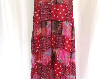 Vintage 80s womens dress maxi skirt beach coverup strapless sundress hippie red pink polka dot size L XL