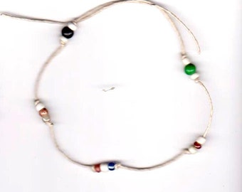 Hemp and Glass Bead Anklet